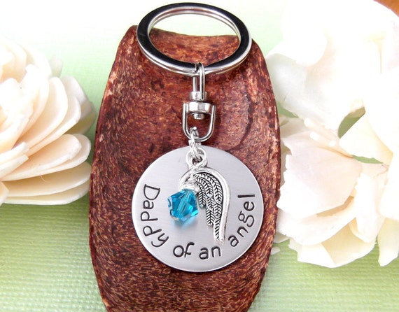 Dad of an angel- Daddy of an angel-Memorial/Rembrance Key Chain- Handstamped Jewelry- Infant Loss- Child Loss- Memorial Keepsake