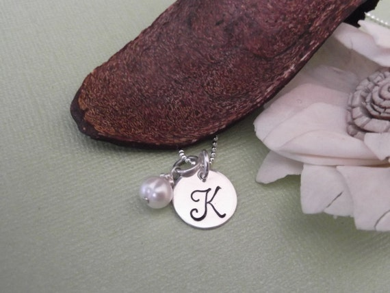 Initial Charm Necklace with Birthstone- Personalized Jewelry- Hand Stamped Children's Jewelry- Bridesmaid Gifts