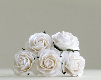 35mm Large White Paper Roses (5pcs) - mulberry paper flowers with wire stems - Great as wedding decoration and bouquet [152]