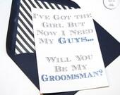 Be My Groomsman Cards // Navy, Grey, Black // Black, White Striped Envelope Liners
