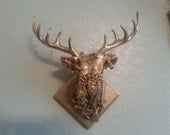 Gold Rush Abstract Embellished Faux Taxidermy Deer Head Wall Mount