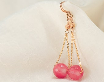 Juicy, coral pink, rose quartz and gold earrings