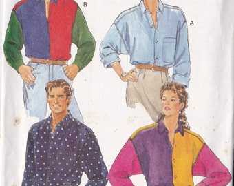 Butterick 6285 Vintage Pattern Mens Loose Fitting Button Up Shirt  Size X-Small, Small, Med UNCUT