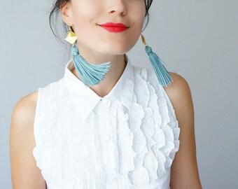 Mothers Day Tassel Earrings Tassel Jewelry Geometric Earrings Statement Earrings Mint Blue Earrings Gold Earrings Dangle Earrings