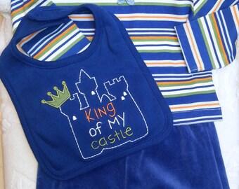 Baby Boys Infant Blue Stripes Set Shirt Bib Pants-  Handmade Teddy Bear Face-  Size 0-3 months