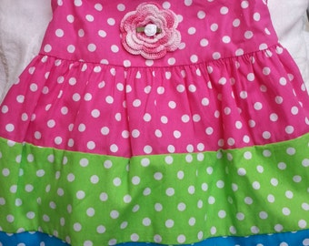 Girls Baby Infant Toddler Polka Dot Dress Sundress - Handmade Irish Rose - Pink, Blue, Green - Sizes 12, 18, 24 months, and 2T, 3T, and 4T