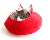 Cat Bed Cave House Felted Wool with FREE Ball Red