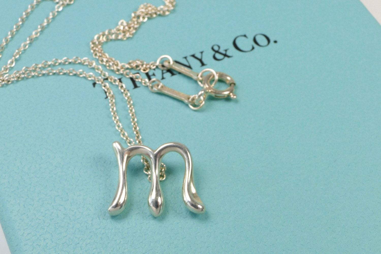 Tiffany co elsa peretti letter m alphabet pendant necklace for Elsa peretti letter pendant review