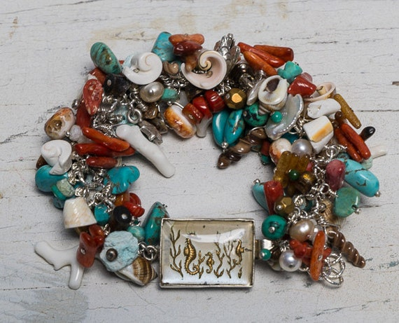 Coral, turquoise, shell bracelet with seahorse intaglio clasp handmade one-of-a-kind by ladeDAH! jewelry