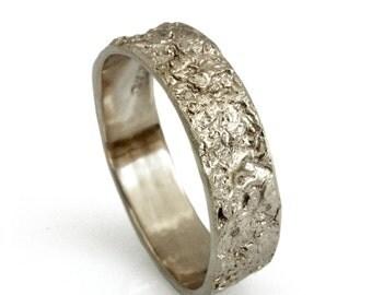 14k solid gold wedding band, Rustic 18k white gold ring, 6mm wide men wedding band, organic Artisan designer women's band, Recycled Gold