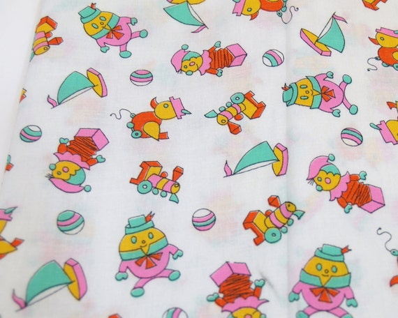 Baby toy vintage 1 yard fabric boat duck jack in the for Vintage childrens fabric by the yard