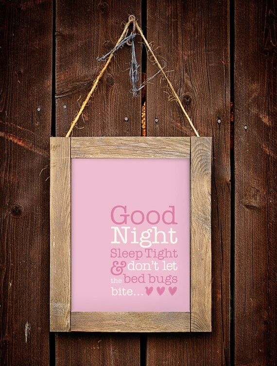 Good Night Sleep Tight - Print for a Baby Girl's Nursery - Instant Download Wall Art - Print at Home