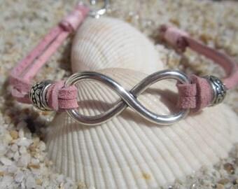 Pink Suede Boho Infinity Charm Bracelet