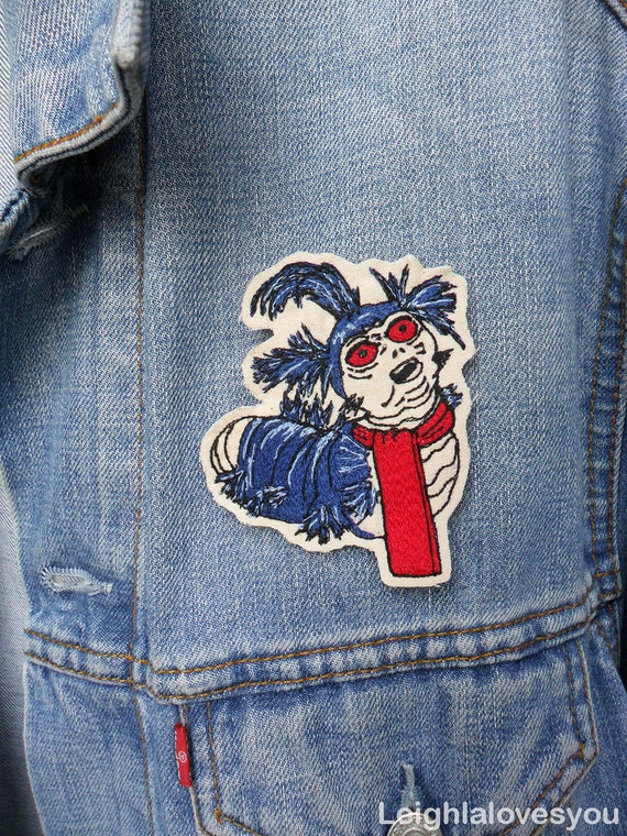 Labyrinth Worm Embroidered Patch/Brooch