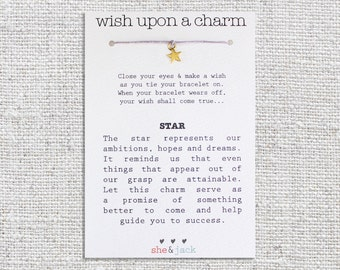 STAR - Wish Bracelet - Small Gold Charm - Hemp Cord - Choose Your Own Color