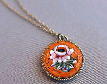Vintage Italian Micro Mosaic Pendant and Chain
