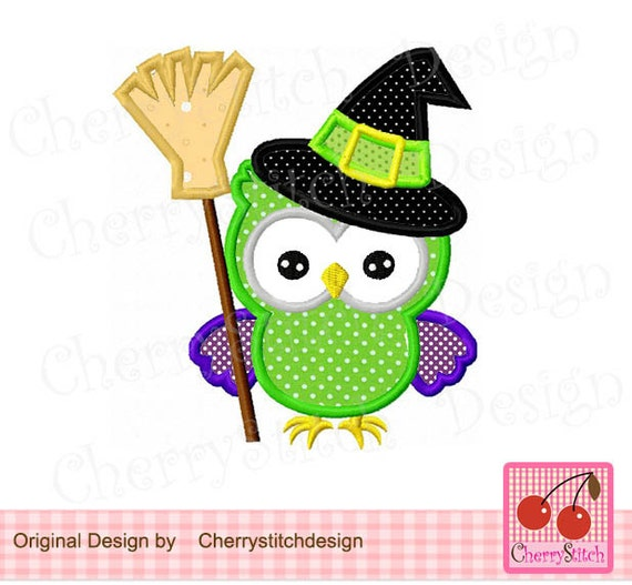 Owl halloween machine embroidery applique design hl