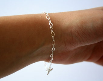 Silver Plated Heart Chain Bracelet, Heart Jewelry, Gift Ideas, Bridesmaids Gifts, Simple Silver Jewelry, Mother's Day