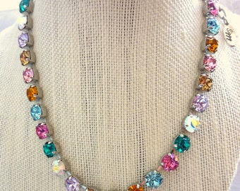 Swarovski Crystal full length Necklace - Made with CRYSTALLIZED™  Swarovski Elements,  designer Inspired multi colored, rainbow, Siggy bling