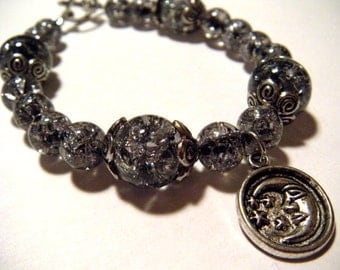 Glass Bracelet With Moon and Stars Charm