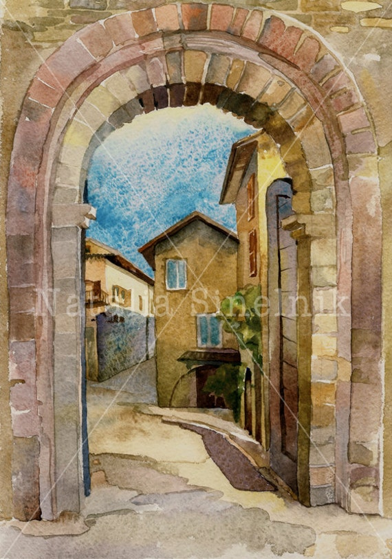 Italian Asissi landscape with arc digital download from original watercolor famouse place clipart old city