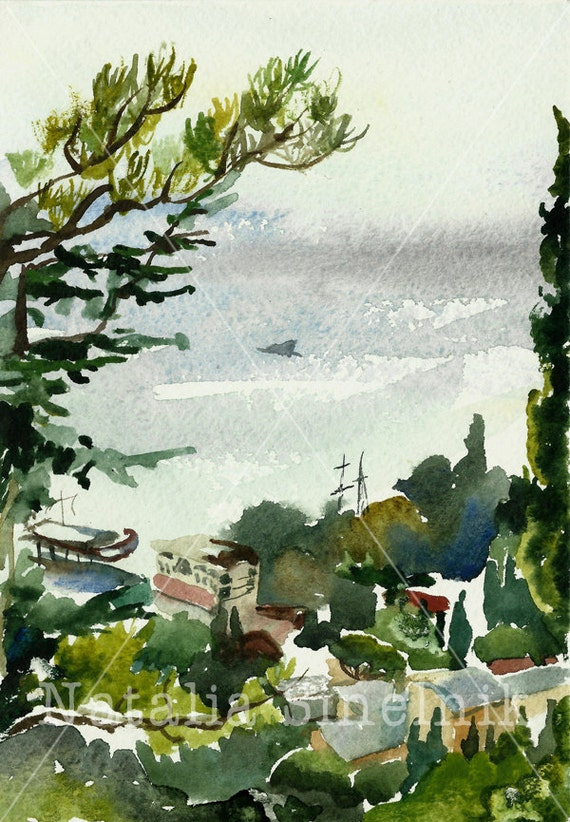 Crimea landscape from hill to the sea digital download from original watercolor Yalta Crimea green clipart