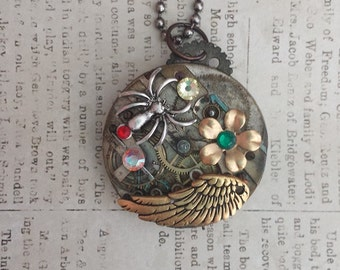 Steampunk Vintage Pocket Watch Works Spider Wing and Owl Necklace