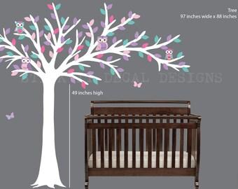 Owl tree decal, Blowing Tree, Owl Nursery Art, owl wall decal, nursery owl decor, Modern Girl Design