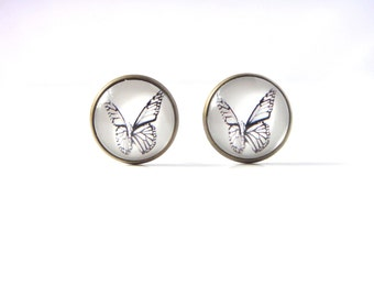 18mm Black and White Butterfly Stud Earrings, Black and White Butterfly Earrings, White Butterfly Glass Studs, White Butterfly Post Earrings
