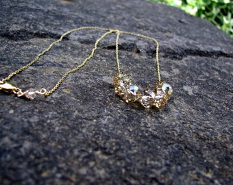 14K Gold Carrie Necklace, Swarovski Crystals Necklace, Bridal, Bridesmaids Necklace, Weddings, Minimalist, Handmade Jewelry