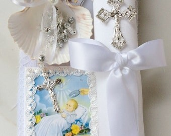 White Baptism candle set, Baptism candle boy, vela para bautizo, vela para communion