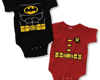 Batman and Robin Costume Infant Bodysuit Creeper (New Born - 24 Months)