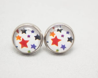 Glass Cabochon Earrings - Rainbow Stars On A White Background- Silver Setting - One Pair