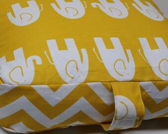 17x15x4 Floor Cushion Pillow Pouf Yellow Elephant Chevron