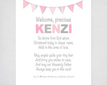 "Christening Gift for Girls - Personalized Prayer with Bunting - 8x10"" PRINTABLE DIGITAL FILE - Baptism, Christening. or Baby Dedication Gift"