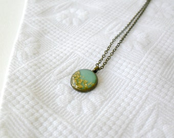 Tiny mint gold necklace- Delicate dainty jewelry- summer pendant