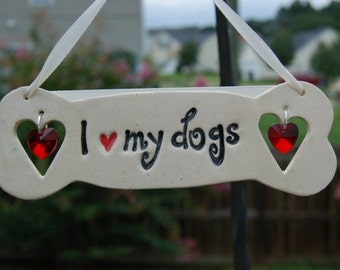 "Sun Catcher ""I Love My Dogs"" with Swarovski Crystal Hearts, Dog Lover Sun Catcher, Bone Sun Catcher, Dog Suncatcher, Dog Lover gift"