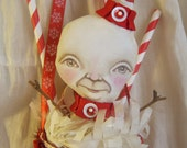 "Reserved for Nancy 2 of 3 Snowman Doll Treat Cone Folk Art Christmas Decoration ""Noel"" Candy Cane Ornament"