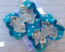 FROZEN ELSA BOWS - Frozen Party - Frozen Birthday - Pigtail bows - Shoe toppers - Toddler, Infant, Big girls Bow - Over the top bow