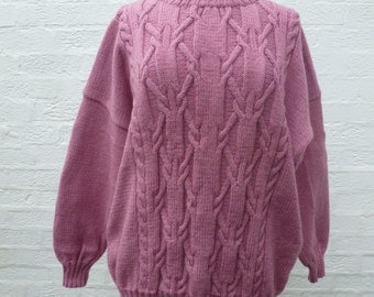 Pullover slouchy jumper ladies sweater 80s wool jumper womens sweater chunky 80s jumper cable knit sweater pastel goth vintage clothing.
