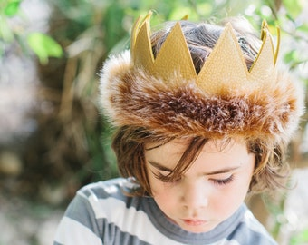 Wild Things Birthday Crown  || Where the Wild Things Are Birthday || Leather Boy Crown || King of the Jungle Birthday || Wild One