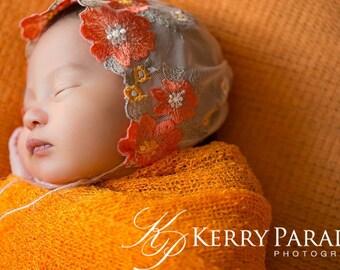 Poppy floral lace newborn bonnet