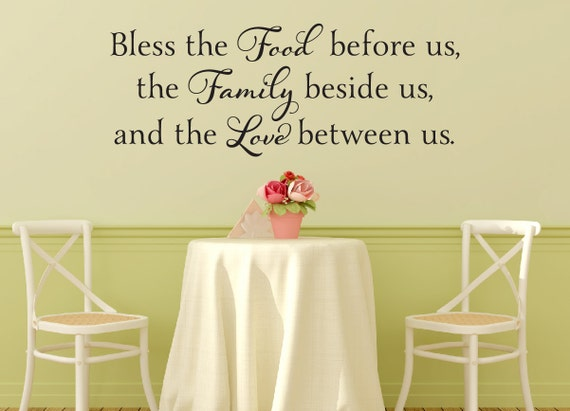 Bless The Food Before Us Wall Decal Kitchen Wall Decal