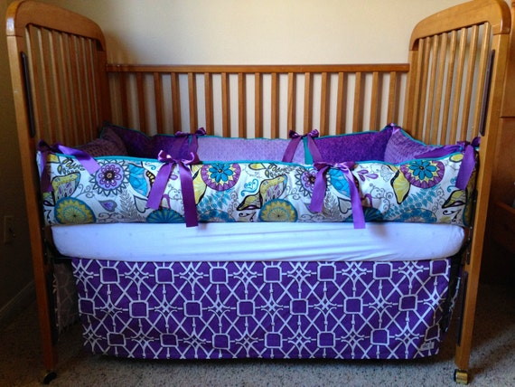 items similar to aqua purple baby girl crib bedding for nursery on etsy. Black Bedroom Furniture Sets. Home Design Ideas