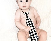 Checkered Black and White Infant and Toddler Tie
