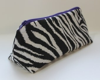 Zippered Flat Bottom Makeup Bag Pencil Case Zebra Print with Purple Lining