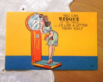 Vintage Postcard, Retro Woman, Comic Card - Mid Century Linen Paper Ephemera