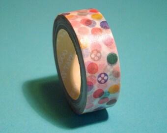Washi Tape Roll - Cute Kawaii Rainbow Polka Dots Scrapbooking Sticker 15mm x 10m