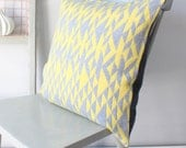 Grey and Yellow Pelt Knitted Lambswool Cushion