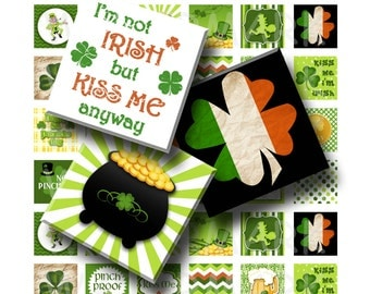 St Patricks Day - Digital Collage Sheet  - 1 inch (1 x 1)  - INSTANT DOWNLOAD